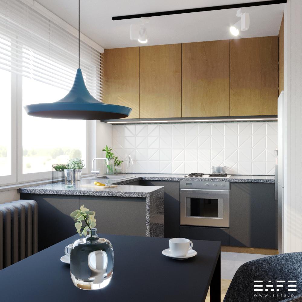 Wnętrze widok na kuchnie